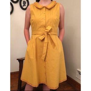 Modcloth Peter Pan collor yellow Dress